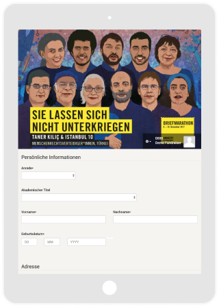 Petition form for Face-to-Face campaigns with tablet